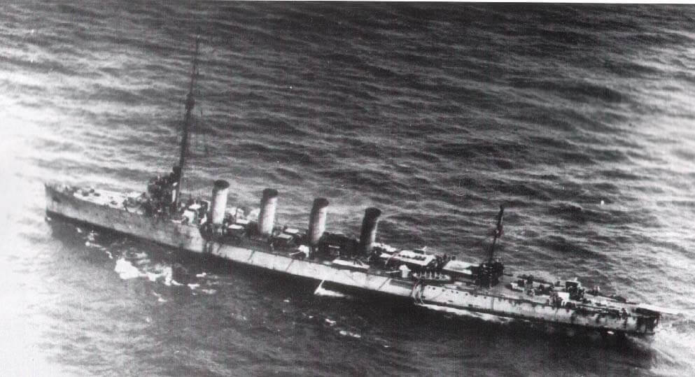 SMS Novara after suffering damage at the Battle of the Otranto Straits