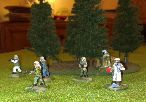 Mujahideen advancing on the forest