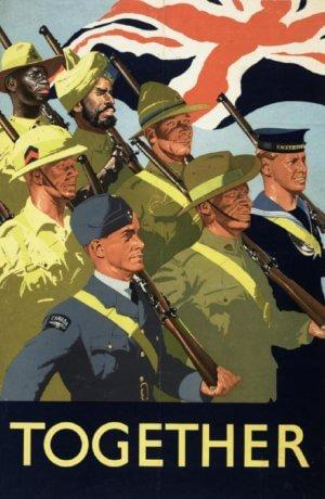 Seven British empire military personnel in uniform