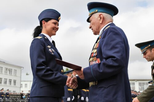 A woman graduating from Ryazan High Airborne Command School in Russia