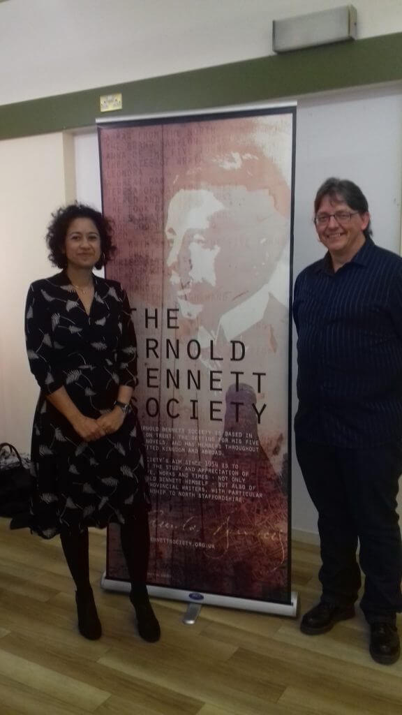 Russell and Samira Ahmed at the prize giving for the Arnold Bennett Book Prize 2017