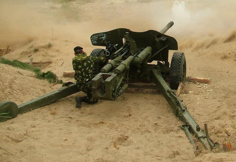 Photograph of an MT-12 firing